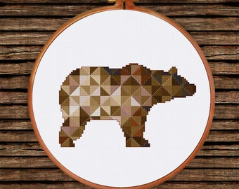 Brown Geometric Bear cross stitch pattern| Modern triangle counted chart| Nursery baby animal wooden cabin house nature mountain room decor