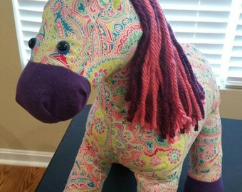 Floral Plush Horse, stuffed horse toy for children