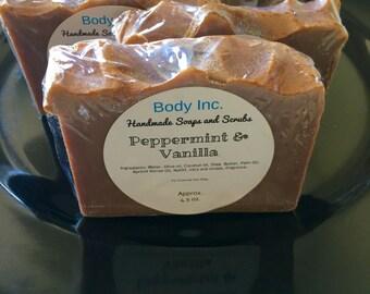 Peppermint and Vanilla Soap/Cold Processed Soap/Artisan Soap/Bath Soap/Body Soap/Better Skin/Soap