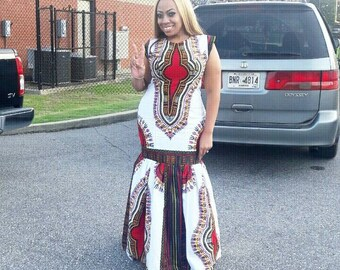 Floor length White Daashiki Dress    Daashiki Dresses, Floor Length Dresses, White African Dresses
