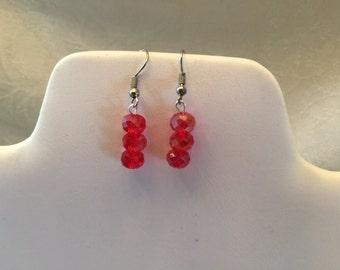 Red Aurora Borealis Crystal Beaded Pierced Earrings Silver Tone