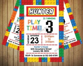Colored Building Blocks Birthday Invitation / Construction Bricks Invitation / Boys Lego Birthday Party Personalised Joint Invitation