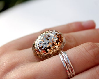 Glitter Oval Ring - Glitter Resin Ring - Glitter Ring - Statement Ring - Adjustable Ring - Resin Jewellery