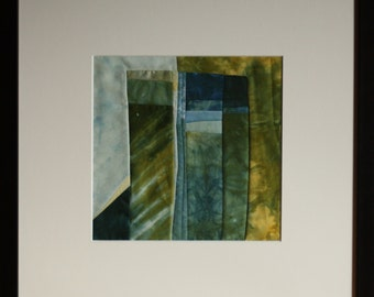 "Quilt, patchwork, original, textiles mural Artquilt, inlay, blue landscape, title: ""Blue Rock"""
