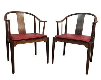 Danish Mid Century Modern Rosewood China Chairs by Hans Wegner for Fritz Hansen