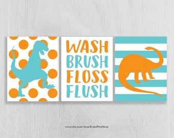 Kids Bath Wall Art Bathroom Rules Bathroom Prints Wash Brush