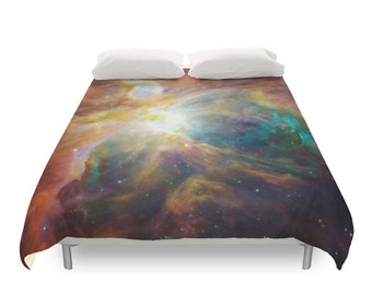Nebula Duvet Cover, Galaxy Photography, Geek Bedding, Bohemian Art, Space Landscape, Stars, Children, Twin, Full, Duvet Queen, Duvet King