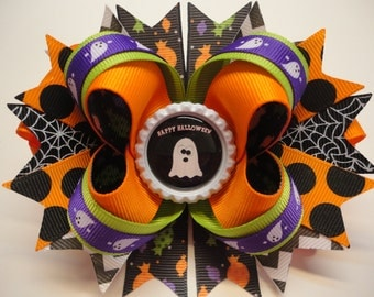 "HALLOWEEN ""HAPPY HALLOWEEN"" Cute Ghost Boutique Stacked Hair Bow W5.0""x L4.5"" x H2.0"""