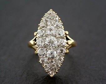 Antique Engagement Ring - Antique Victorian Diamond Navette Ring - Antique Diamond Ring