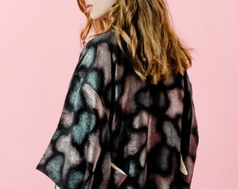 Jahrgang ' dunklen Künste '' metallische gewebte Seide 100 % Seide zugeschnitten KIMONO-Jacke