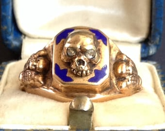 Sale! Memento Mori Gold Skull Ring Diamond Eyes Russian 14k Gold Antique Ring