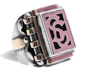 Initialen Ring Art Deco Siegelring Rose Gold Silber