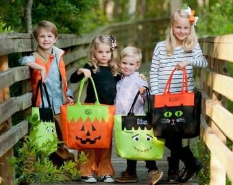 Monogram Halloween Bag-Frankenstein Halloween Bag-Halloween kid bag-Trick or Treat Bag-Monogram Halloween-Halloween Tote-Halloween Accessory
