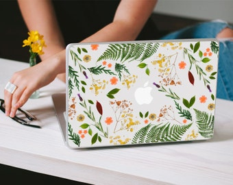 Flower Macbook Decal - Genuine Flower and Leaf Foliage MacBook Laptop Skin