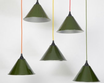 Vintage Ex Mod Green industrial pendant light Shades with hanging gallery circa1980s