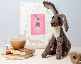 Brown Hare Crochet Kit - Amigurumi Crochet Hare Kit - craft set gift - crochet hare project - hare craft kit for adults - textiles project