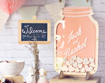 Wedding Guest Book Alternative Mason Jar - Blush Pink Personalised Guestbook - Size 1