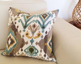 Boho Cushions Coastal Cushions Bohemian Beach Pillow Glacier Teal Designer Cushion Covers, Tropical pillows, Home Decor, Scatter Cushions