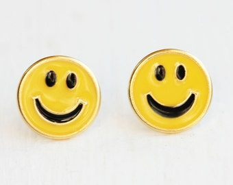 Smiley Face Studs, Yellow Smiley Face Studs, 90s Style Studs, Happy Face Studs, Emoji Studs, Enamel Studs, Vintage Smiley Face Studs, Studs