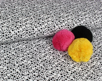 PaaPii ORGANIC JERSEY Knit Fabric - Pebbles in Black and White - Sold by the Half Metre - UK Seller