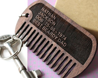 dog tags comb - beard comb - Beard comb keychain - Personalised comb for men - stocking stuffer - hipster gift - custom engraved comb