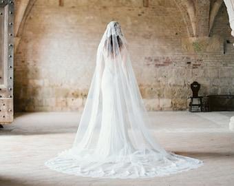 Hochzeitsschleier, Mantilla Schleier aus Spitze, Spitze Hochzeitsschleier, lange Schleier, Kathedrale Schleier aus Spitze, Elfenbein Brautschleier - Art-301