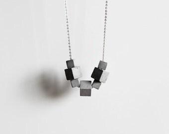Beton Kette, Silber gliederkette, Beton Schmuck, Geschenk für Architektin, moderner Schmuck by ORTOGONALE