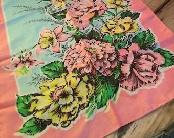 Vintage 1950s Silk Scarf Floral Bouquet Flamingo Pink Rectangle Sash Scarf