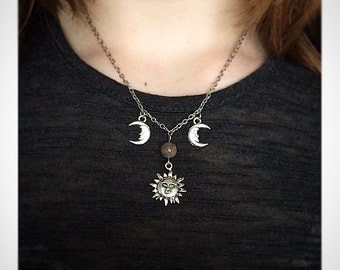 Sun & Moon Charm, and Sunstone or Moonstone Necklace