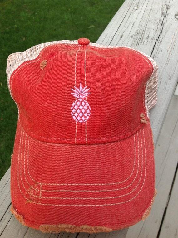 Pineapple Embroidered Trucker Hat Women S Trucker Hat By