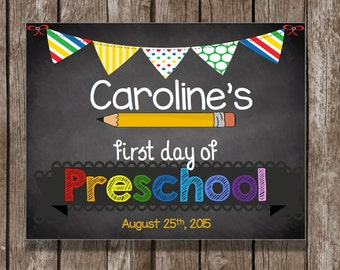 50% OFF SALE - Preschool Sign - First Day - Graduation - Chalkboard - Sign - Printable PDF