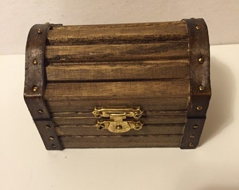 Small Wooden Treasure Chest Box, Ring Bearer Box, Rustic Ring Box, Ring Holder, Keepsake Ring Box, Special Ring Box, Engagement Ring Box
