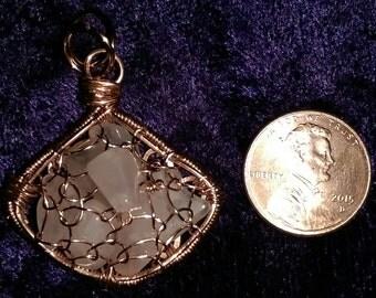 Rose Quartz and Copper Filled Pendant