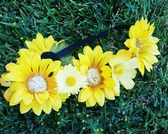 Sunflower Flower Crown, Flower Crown, Flower Headband