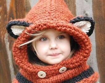 Fox Children Hooded Scarf