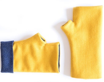 Winter gloves gift – Cashmere fingerless mittens –Long arm wamers –Texting gloves –Yellow and blue hand warmers –Winter gloves
