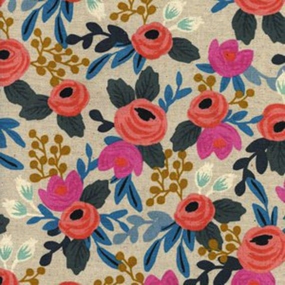 Cotton and Steel - Rifle Paper Co - Les Fleurs - Rosa Floral Canvas in Natural