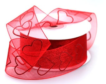 """1 1/2"""" Sheer Red Heart Ribbon - Unwired"""