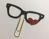 Planner clip, paper clip, Black Planner Nerd Glasses, Black reading glasses with red heart paper clip, journal bookmark