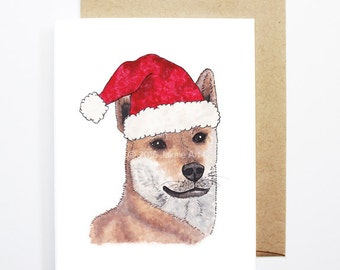 Christmas Card - Korean Jindo, Dog Christmas Card, Cute Christmas Card, Holiday Card, Xmas Card, Seasonal Card, Christmas Card Set