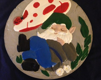 Gnome Stepping Stone, Painted, Cement, Garden Decoration, Lawn Decoration