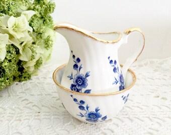 Elizabethan Creamer and Sugar Set - Victorian Tea Party Creamer and Sugar, English Creamer Sugar, Bone China Creamer and Sugar