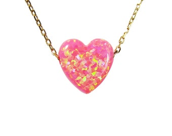 Opal Pink Heart Necklace Sterling Silver Gold Plated Chain Fashion Women's Jewelry Valentine's Day gifts