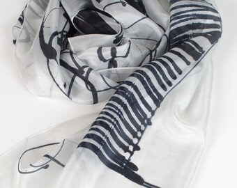 Black and White silk scarf. Hand painted shawl scarf. Bouquet of flowers scarf. Abstract painting. Luxury silk scarf. Woman accessory ooak