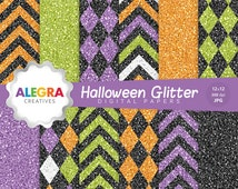 80% OFF SALE - Halloween Glitter Digital Papers, Scrapbook Paper, Harlequin, Chevron, Violet, Green, Orange, Black - Instant Download - P139