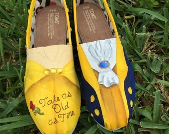 Hand Painted Beauty and the Beast inspired canvas shoes- made to order!- TOMS or VANS