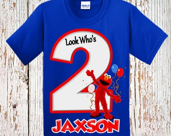 Elmo Birthday Shirt - Elmo Raglan Birthday Shirt - Ringer Shirt