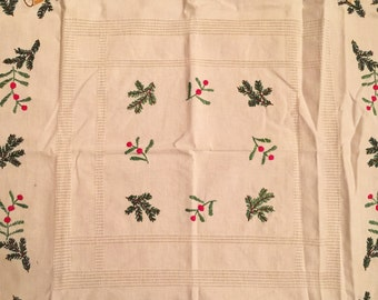 Embroidered Holiday Table Linen