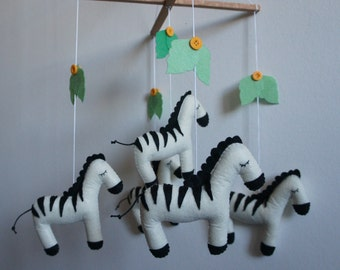 Mobile 5 zebras in felt handmade for baby