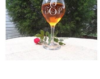 Monogram etched wine glass,